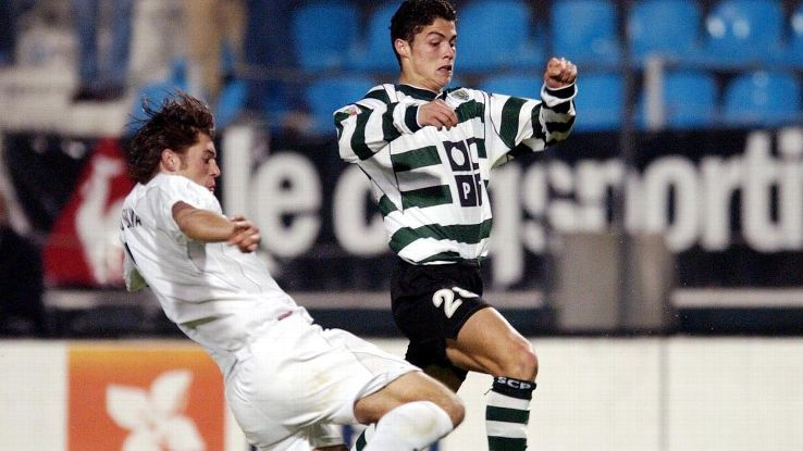 Cristiano Ronaldo playing for Sporting Lisbon in 2002