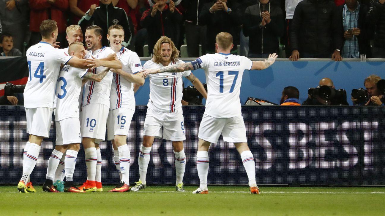 Iceland midfielder Birkir Bjarnason celebrates after scoring the equaliser against Portugal.