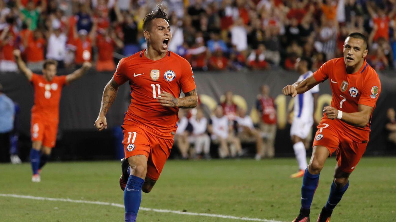 Chile's Eduardo Vargas and Alexis Sanchez celebrate after scoring a goal against Panama.