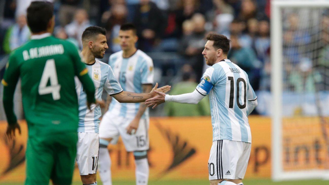 Messi Aguero vs Bolivia 160614