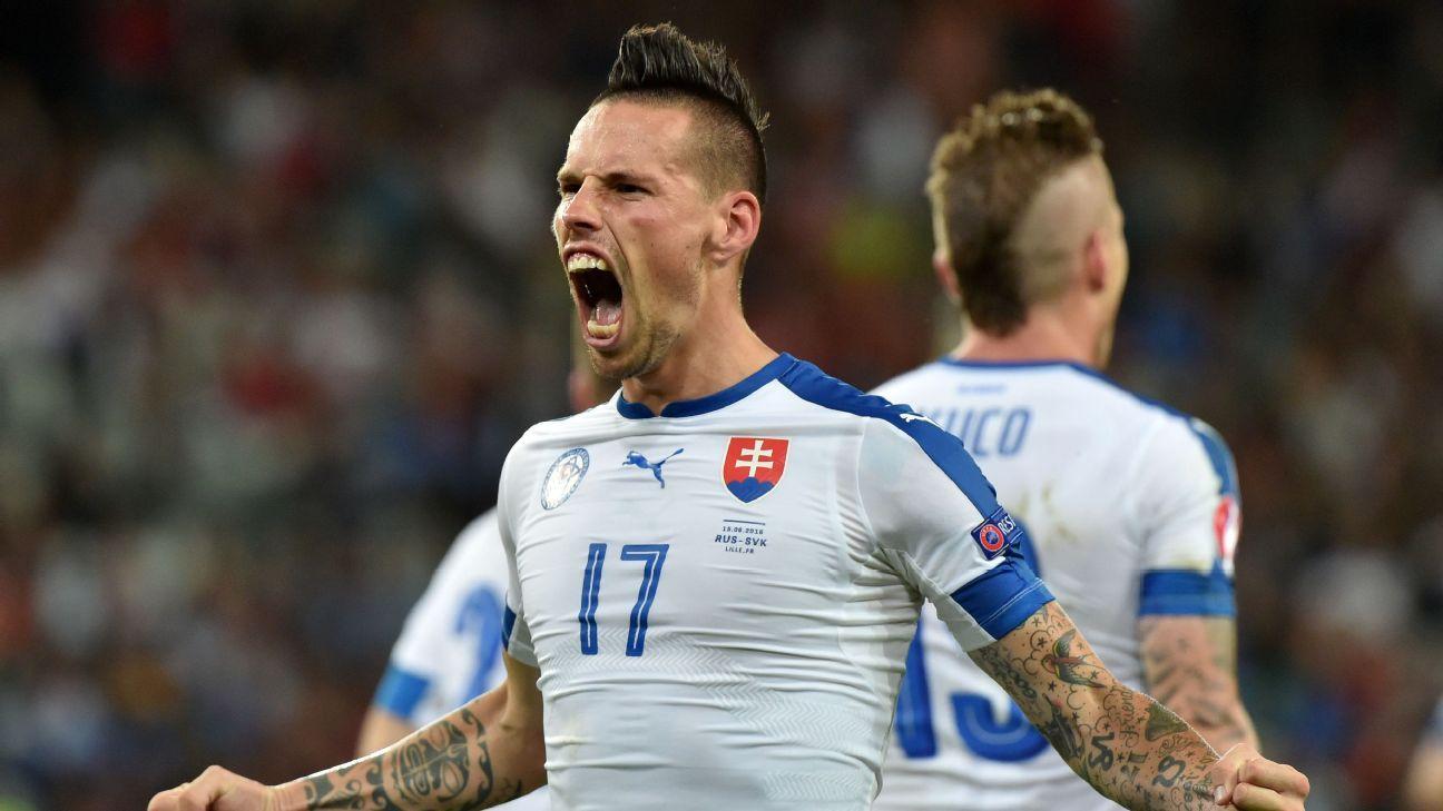 Marek Hamsik celebrates doubling Slovakia's lead over Russia.