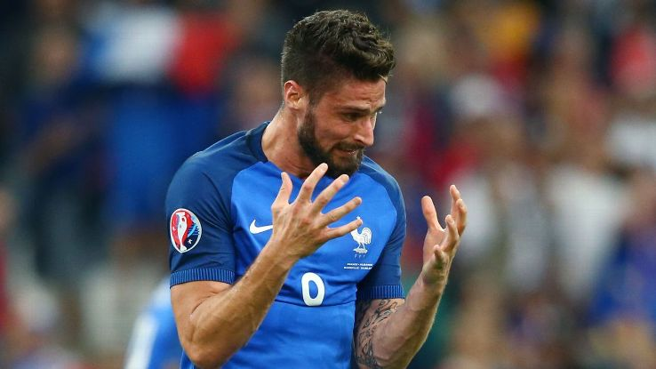 Olivier Giroud and France were frustrated by Albania on Wednesday.
