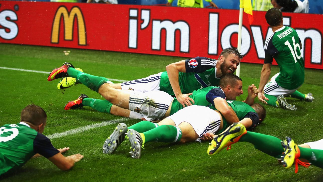Northern Ireland celebrate Gareth McAuley's goal against Ukraine.