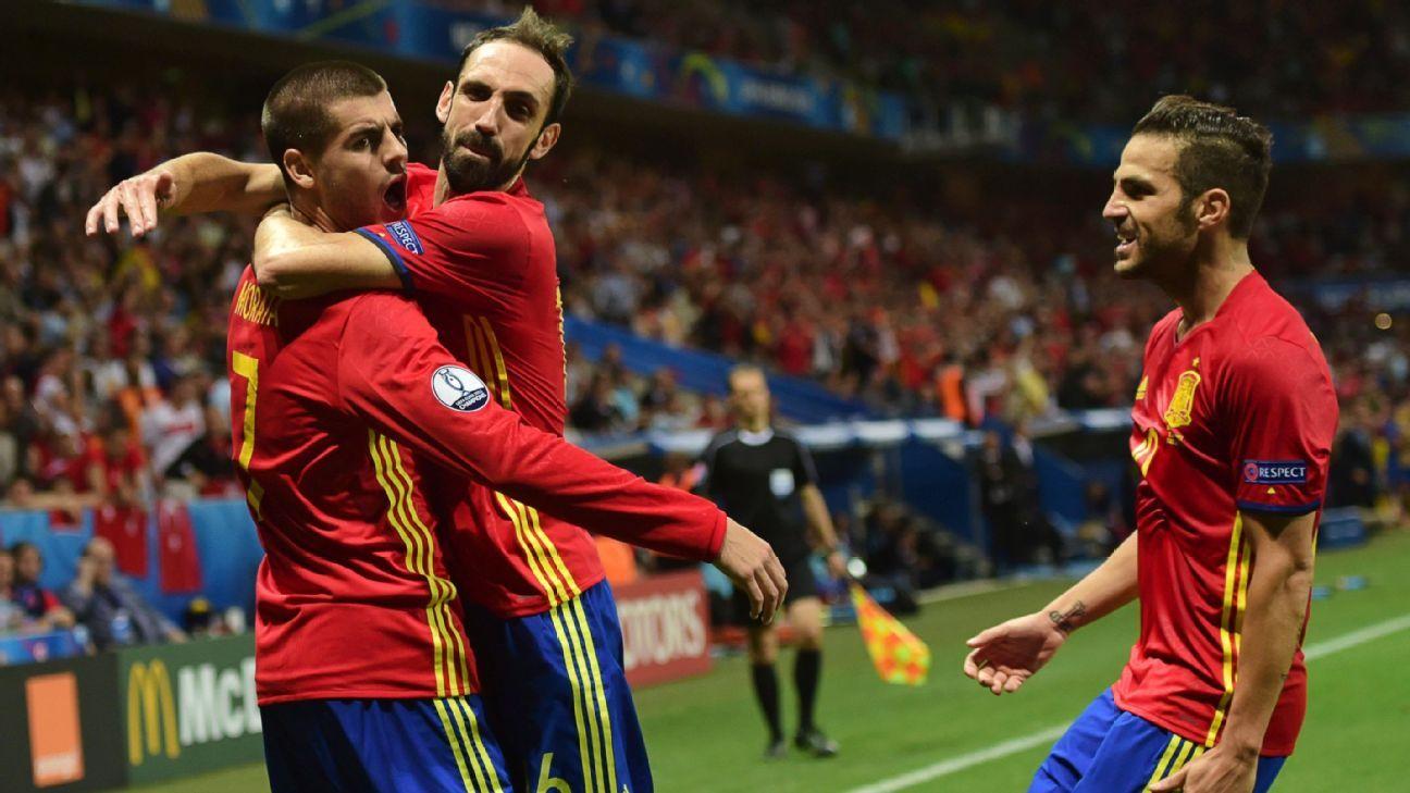 Alvaro Morata scored twice as Spain saw off Turkey.