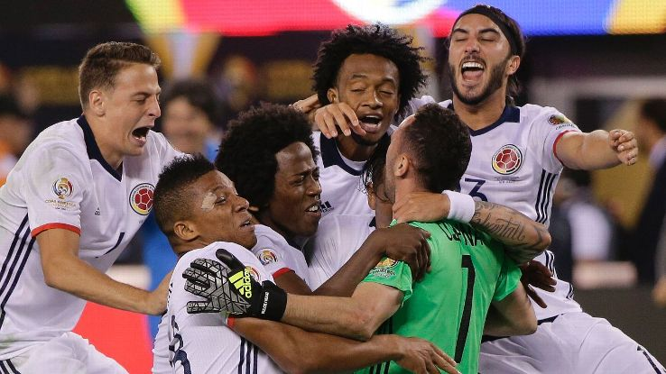 Colombia players celebrate their win over Peru in the Copa America Centenario quarterfinals.