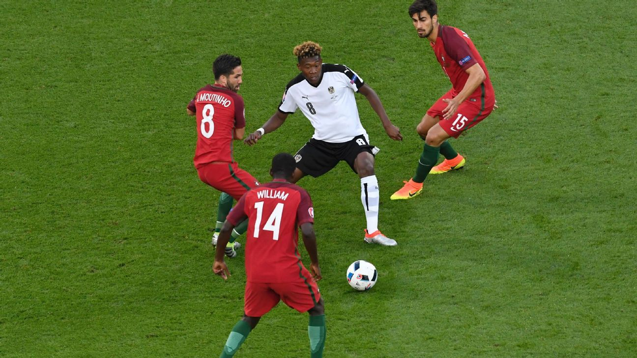 Alaba surrounded by Portugal