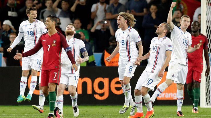Iceland celebrate vs Ronaldo