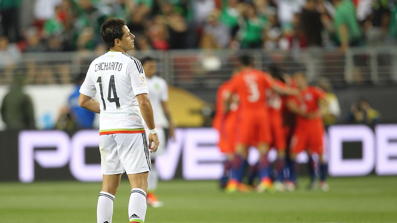 Javier Hernandez bore witness to Mexico's shock 7-0 loss to Chile at the Copa America Centenario tournament in 2015.
