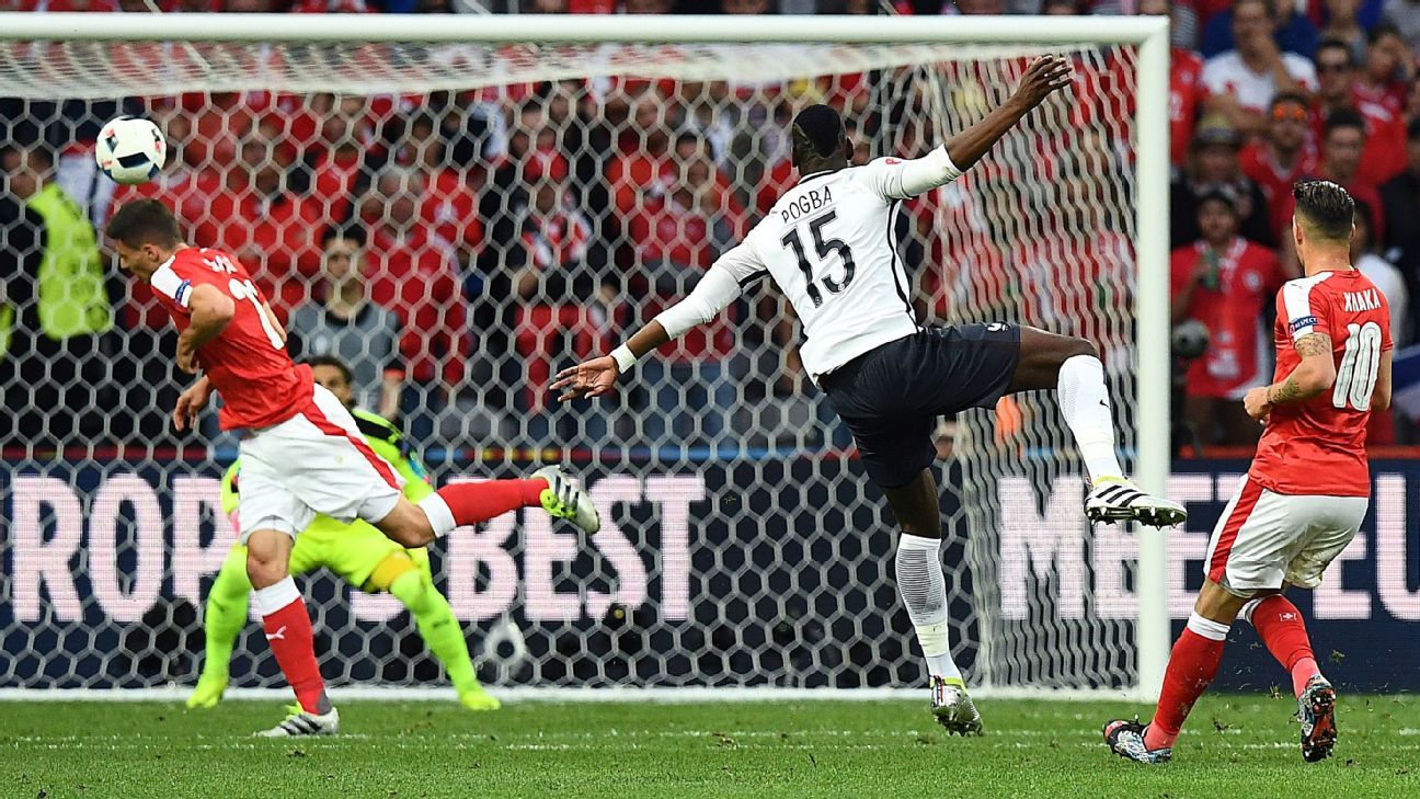 Paul Pogba hit the bar for France with an ambitious shot in the first half.