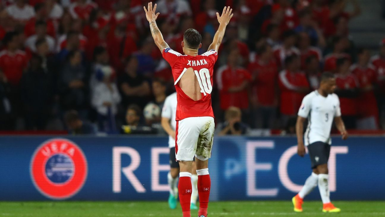 Granit Xhaka Switzerland ripped shirt