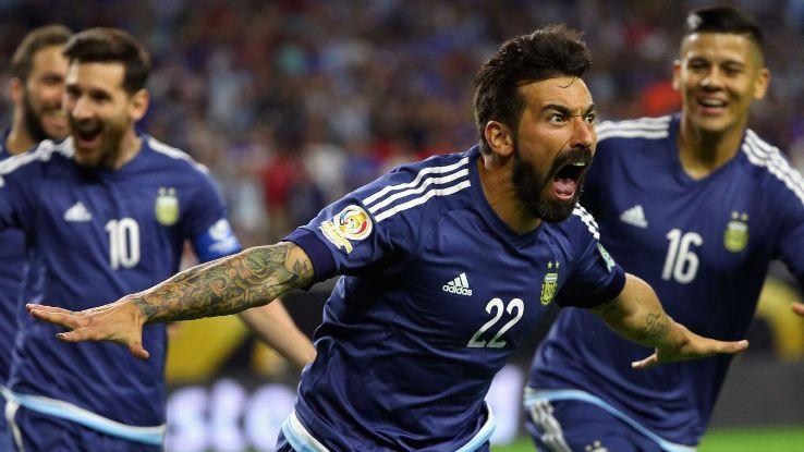 Ezequiel Lavezzi of Argentina celebrates scoring a first half goal against the United States.