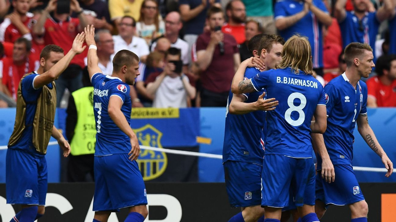 Iceland celebrate their 18th-minute goal against Austria.