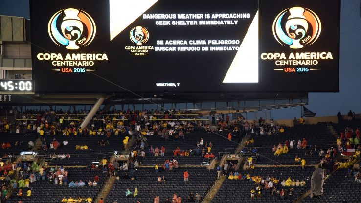 The Copa America semifinal between Chile and Colombia was delayed at half-time due to weather.