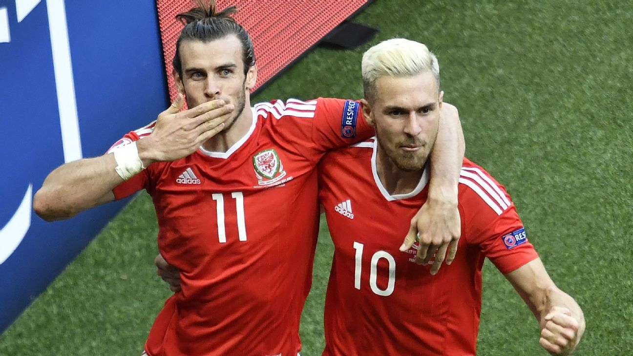 Gareth Bale and Aaron Ramsey celebrate