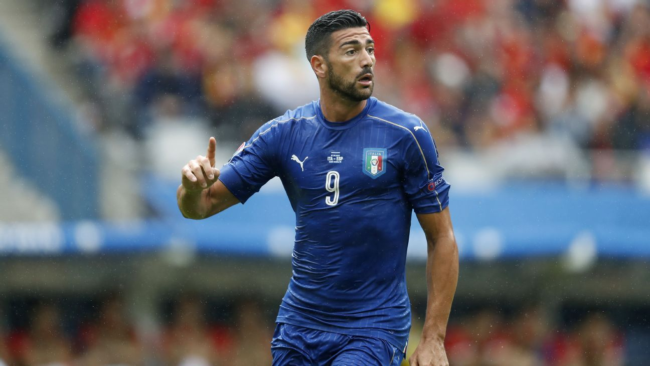 Graziano Pelle with Italy v Spain
