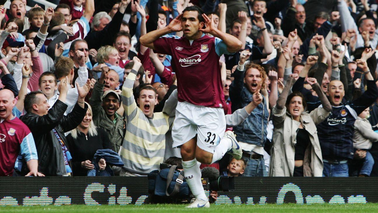 West Ham striker Carlos Tevez