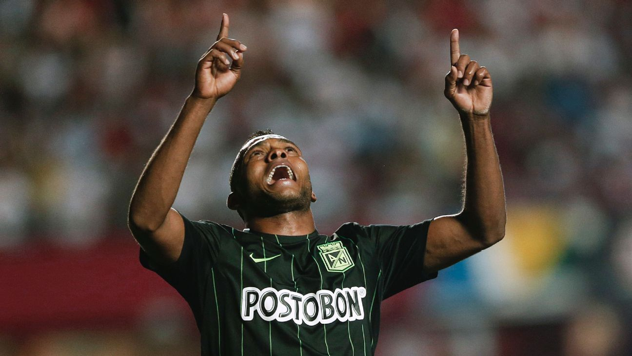 Miguel Borja of Colombia's Atletico Nacional celebrates after scoring against Brazil's Sao Paulo FC.