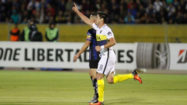 Pablo Perez of Boca Junior celebrates after scoring the opening goal vs. Independiente del Valle.