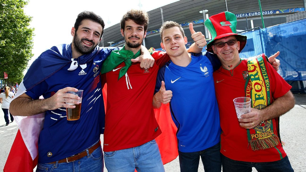 France and Portugal fans