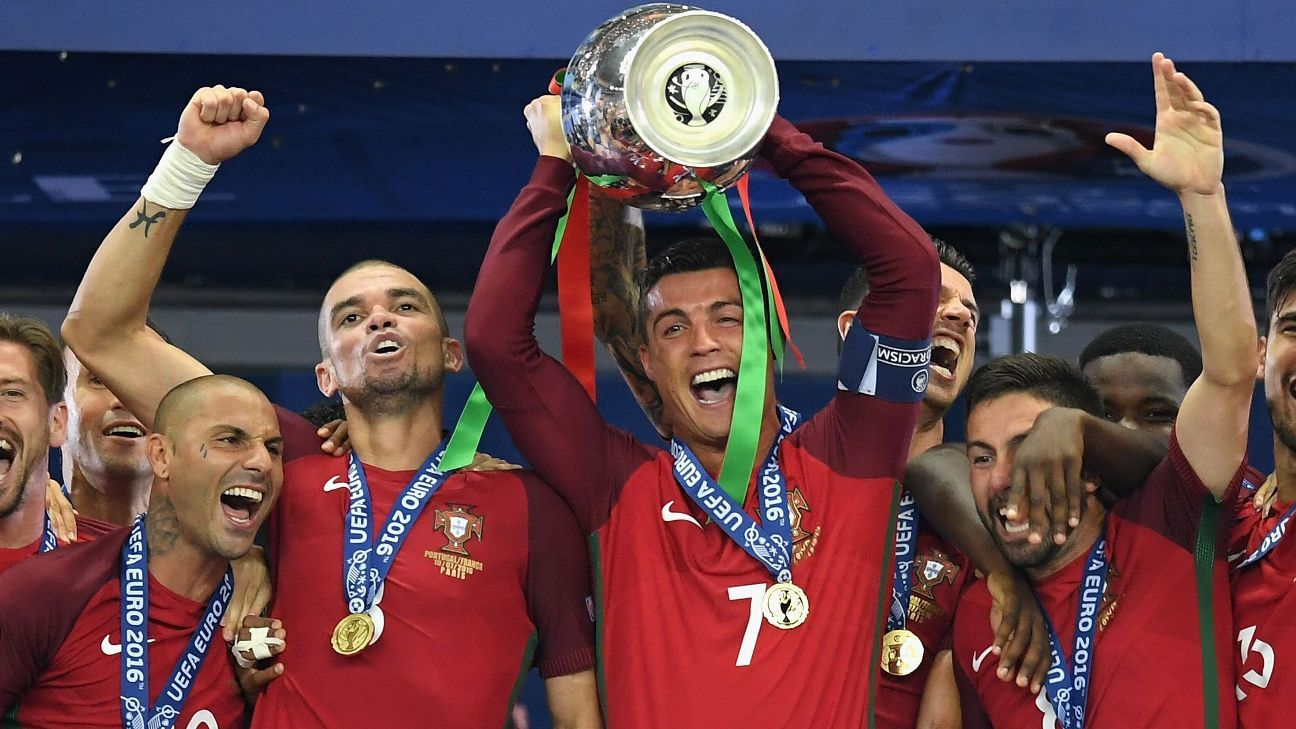 Cristiano Ronaldo lifts the European Championship