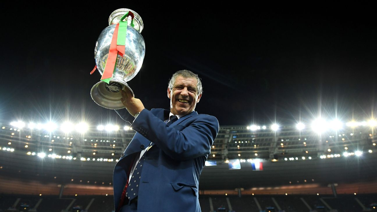 Fernando Santos with Euro trophy