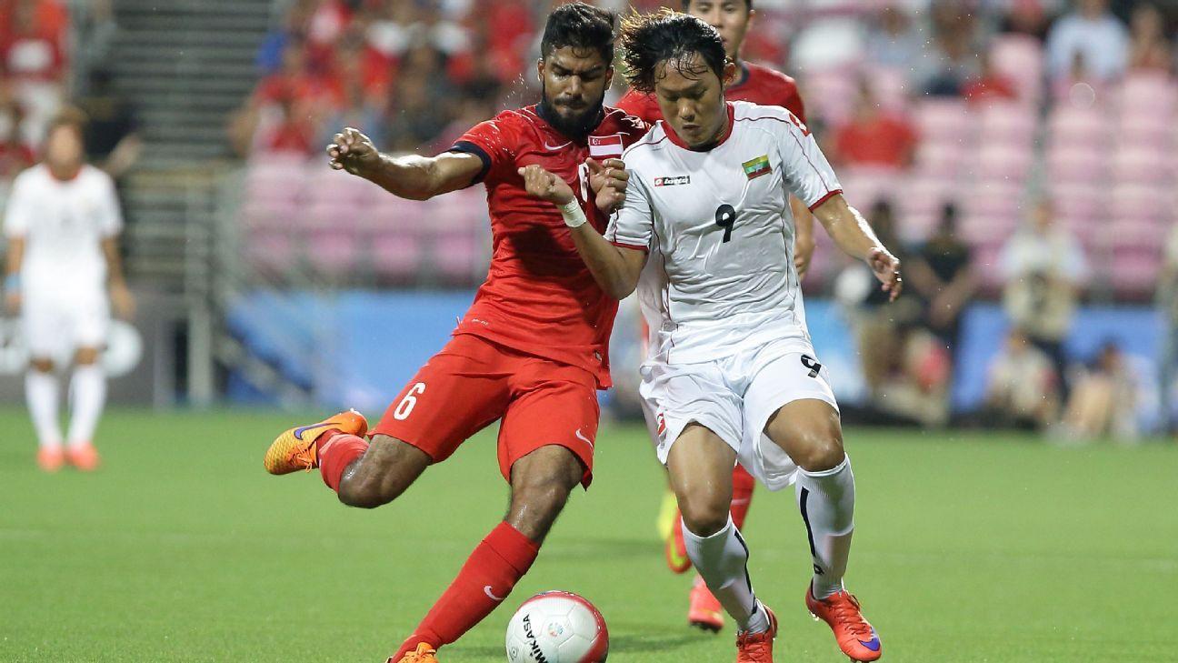 Singapore midfielder M. Anumanthan vs. Myanmar