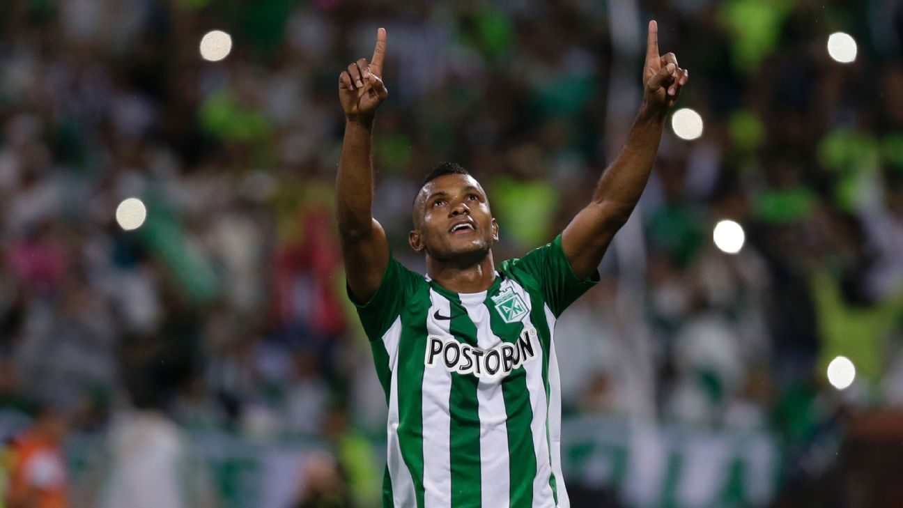 Miguel Borja of Colombia's Atletico Nacional celebrates scoring his side's second goal in a 2-1 win vs. Sao Paulo.