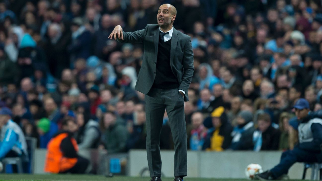 Pep Guardiola at Etihad with Bayern