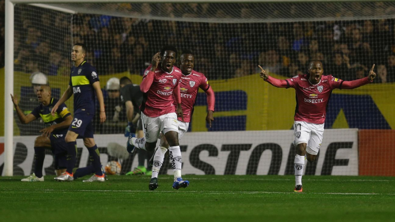 Luis Caicedo of Independiente del Valle celebrates after levelling the score vs. Boca Juniors in the Copa Libertadores.