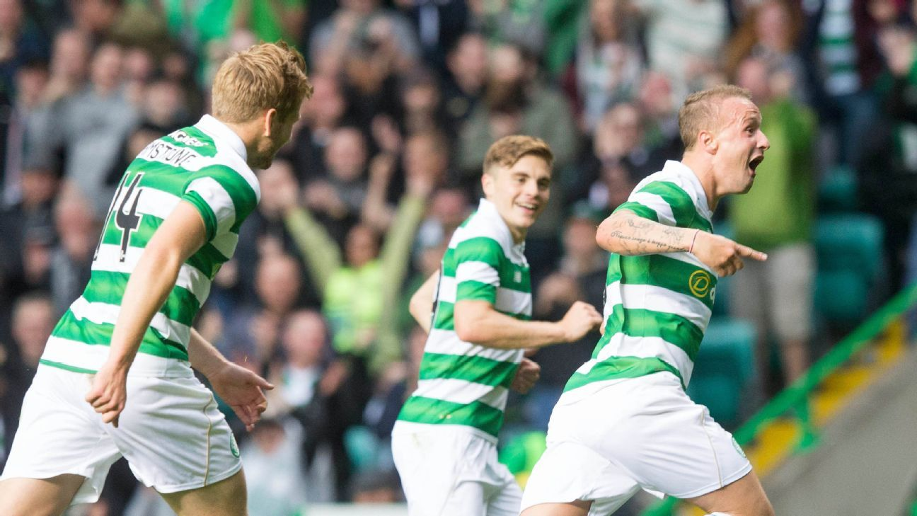 Celtic's Leigh Griffiths celebrates scoring his side's second goal in a Champions League win vs. Lincoln Red Imps.