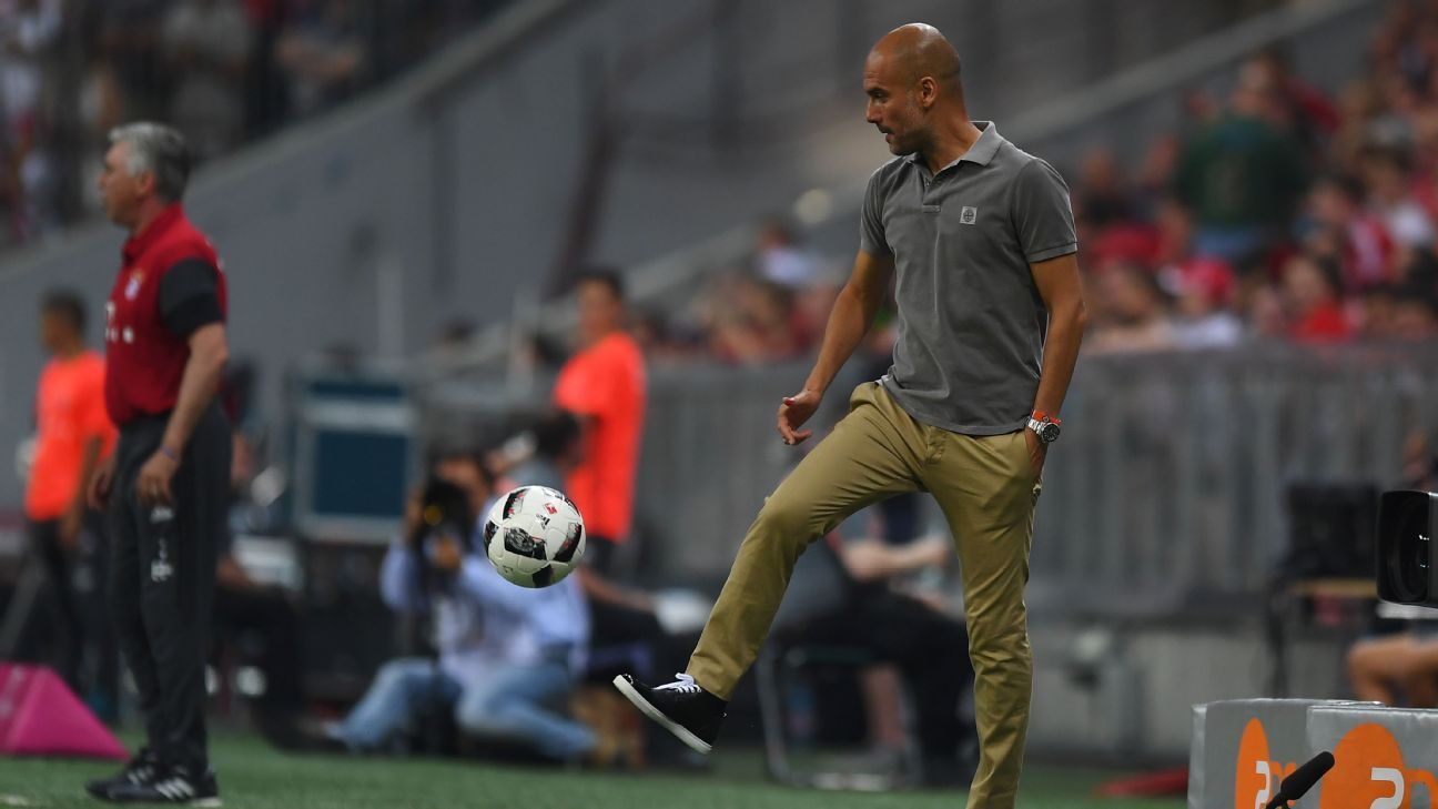 Pep Guardiola recovers a loose ball in his return to Bayern Munich as Manchester City manager.