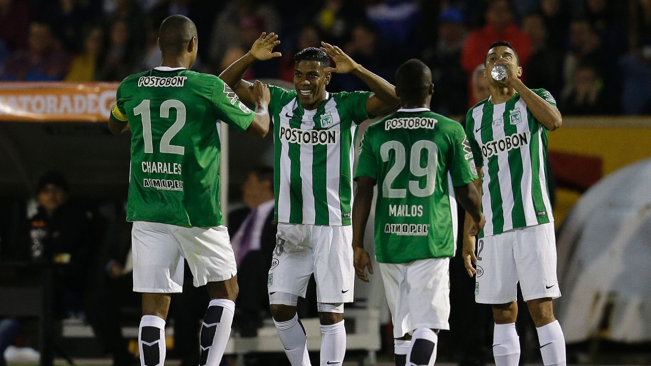 Orlando Berrio of Colombia's Atletico Nacional celebrates after opening the scoring vs. Independiente del Valle in the Copa Libertadores.