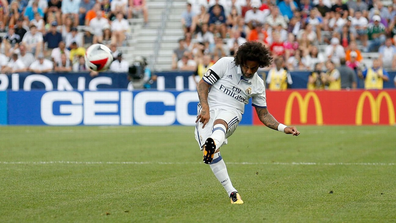 Marcelo scored twice in Real Madrid's 3-2 defeat of Chelsea.
