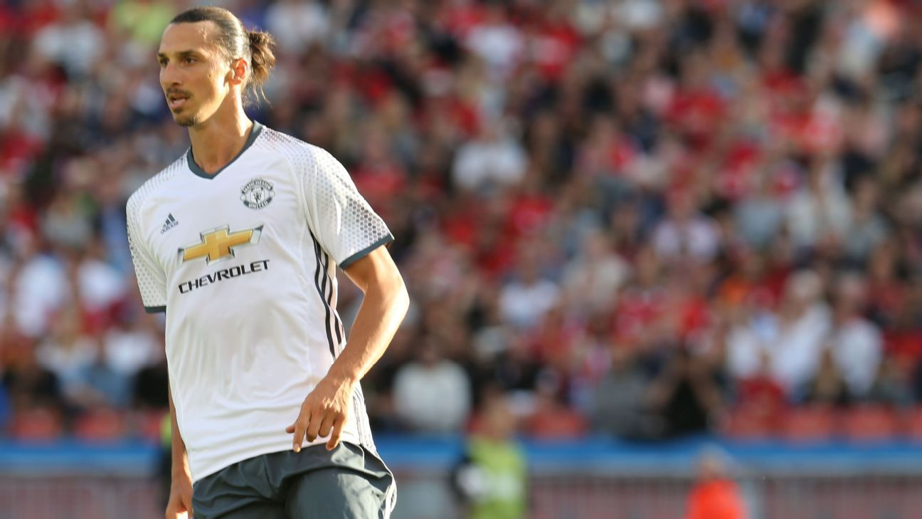 Zlatan Ibrahimovic scored four minutes into his Manchester United debut.