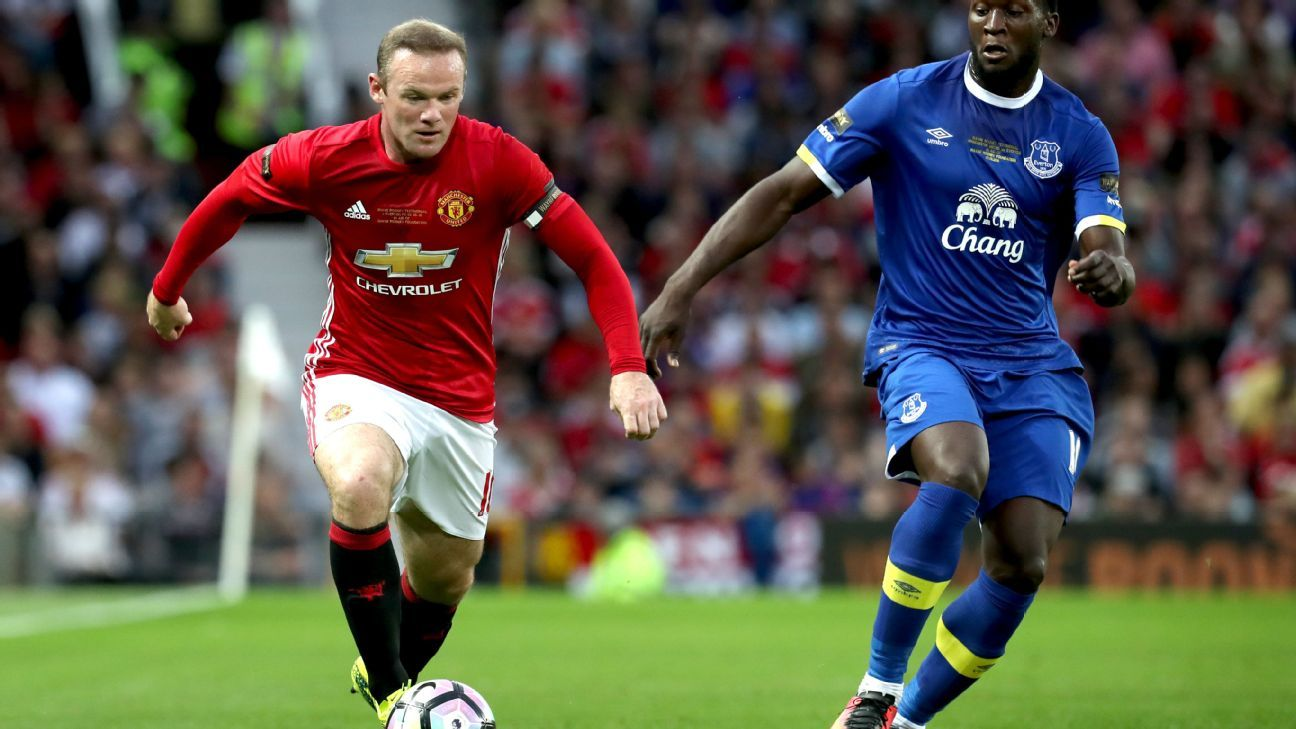 Wayne Rooney and Romelu Lukaku battle for the ball during their teams' 0-0 draw at Rooney's testimonial at Old Trafford.