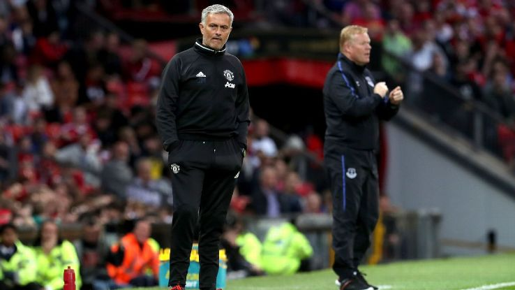 Manchester United manager Jose Mourinho and Everton manager Ronald Koeman on the touchline during Wayne Rooney's Testimonial at Old Trafford.