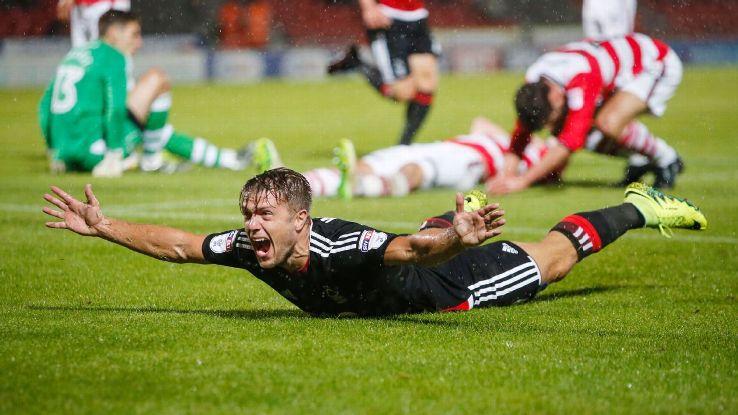 Nottingham Forest's Jamie Ward celebrates scoring the winner.