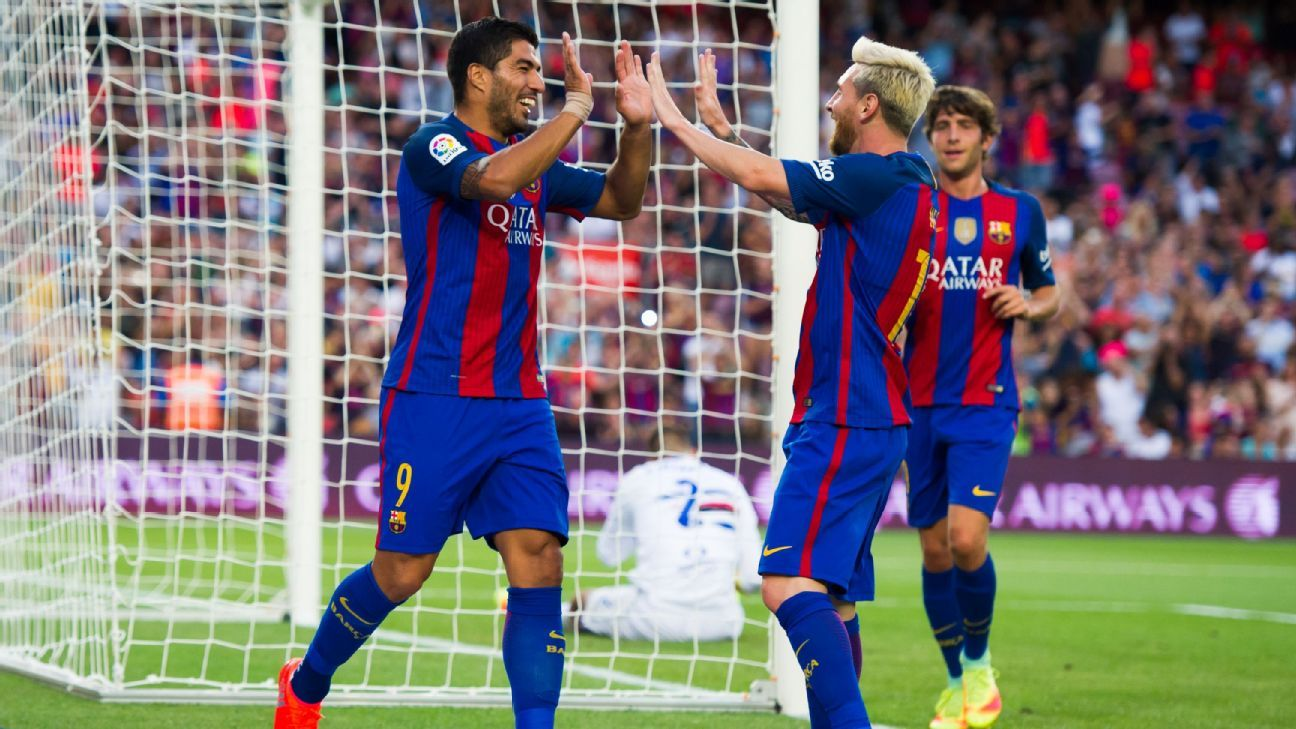 Suarez Messi celeb vs Samp 160810