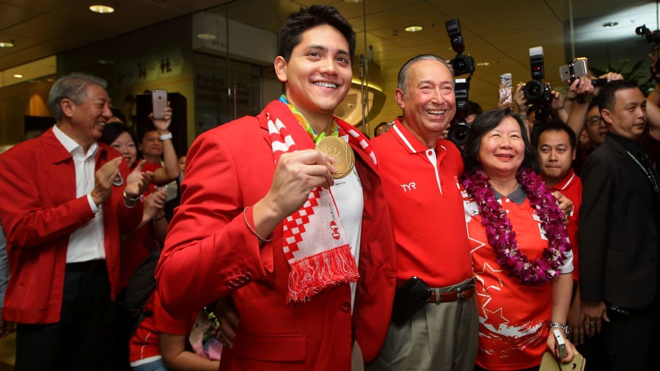 Singapore swimmer Joseph Schooling returns home after winning Rio gold medal