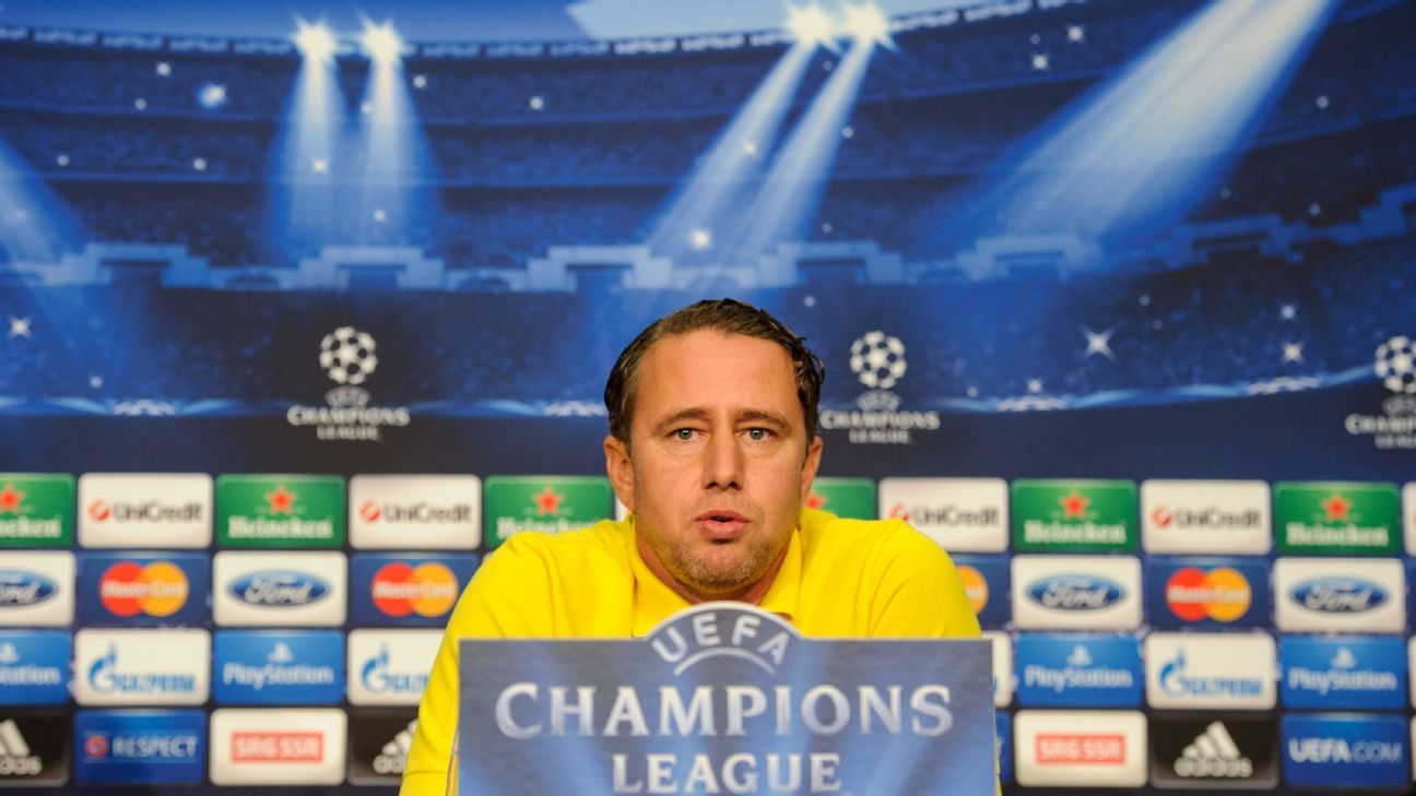 Steaua Bucharest's Romanian coach Laurentiu Reghecampf answers journalists' questions during a press conference on the eve of the Champions League football match Basel vs Steaua Bucharest on November 5, 2013, in Basel.
