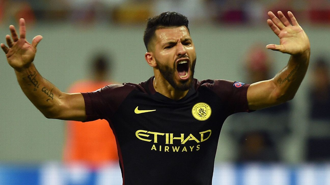 Sergio Aguero celebrates after finally getting on the scoresheet.