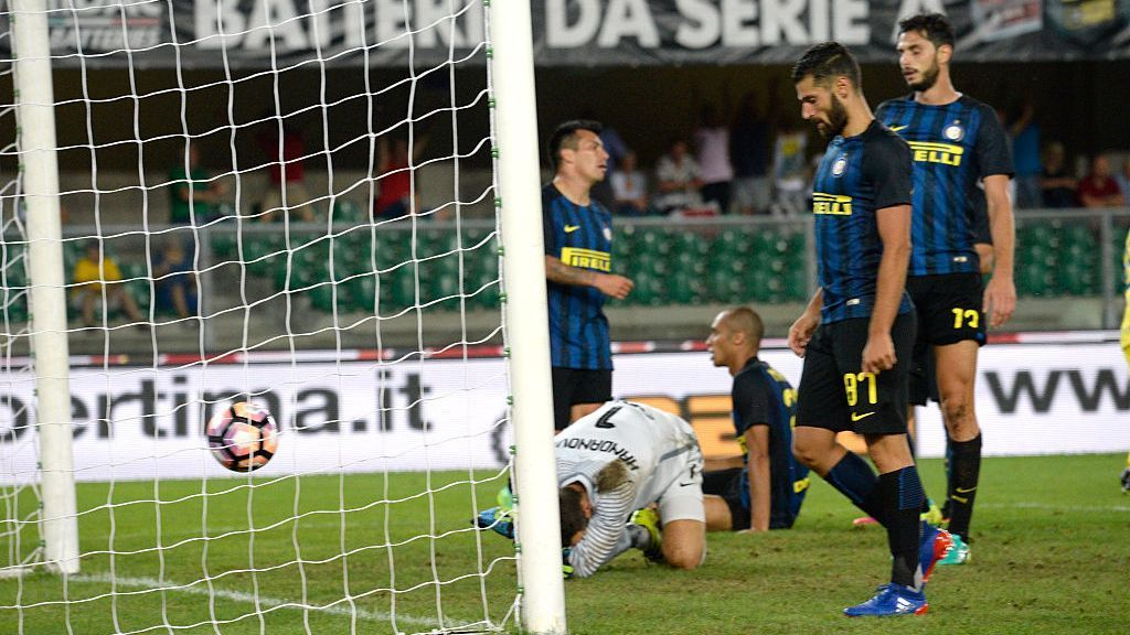 Inter Milan players react after conceding a goal to Chievo in a Serie A loss on Sunday.