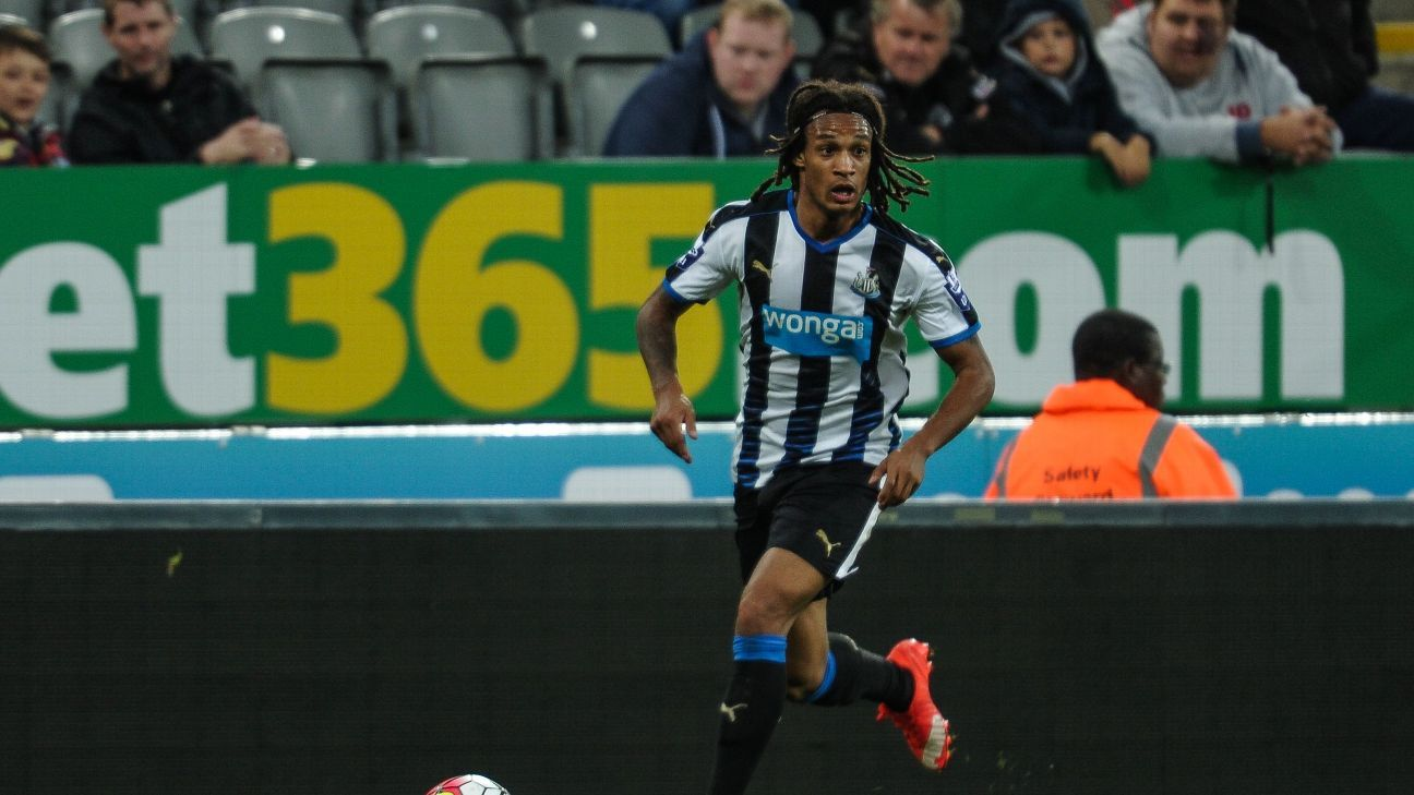 NEWCASTLE UPON TYNE, ENGLAND -  SEPTEMBER 11:Kevin Mbabu of Newcastle during the U21 Premier league match between Newcastle United and Arsenal at St.James Park on September 11, 2015, in Newcastle upon Tyne, England. (Photo by Serena Taylor/Newcastle Unite