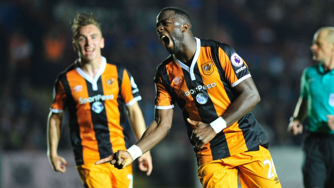 Adama Diomande celebrates after scoring at Exeter