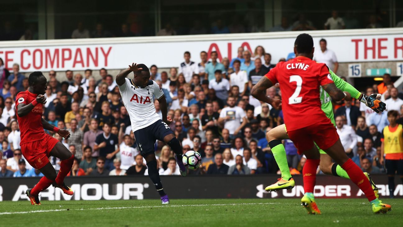 Danny Rose fires home the equaliser for Tottenham.