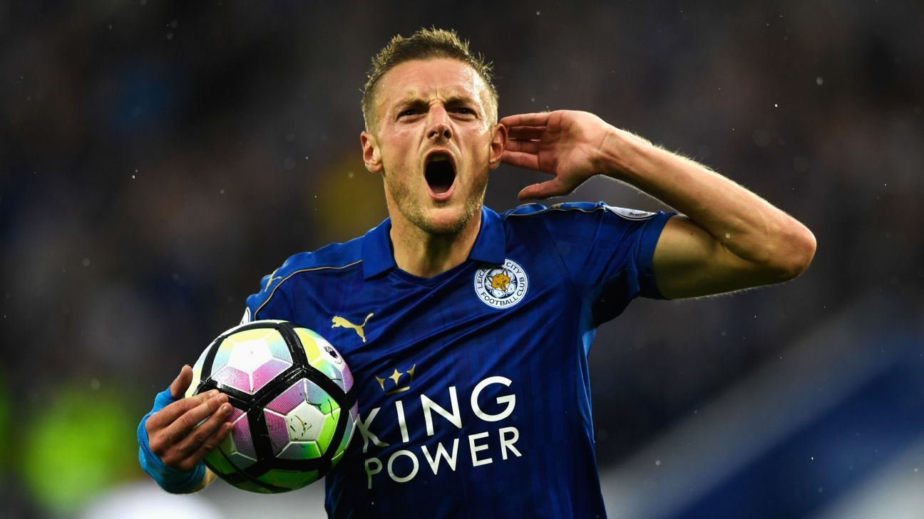 Jamie Vardy scored his first goal of the season as Leicester overcame Swansea.