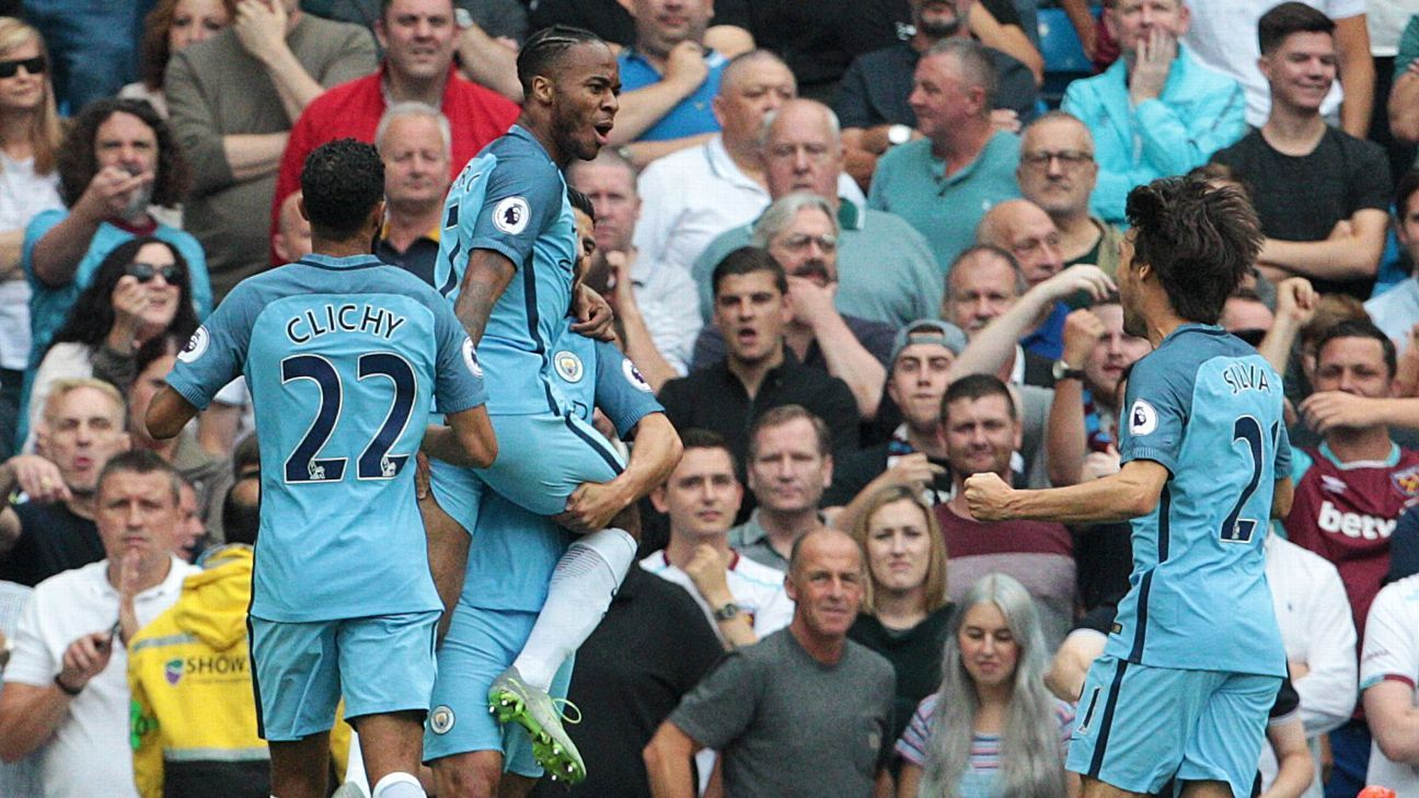 Raheem Sterling broke the deadlock for Manchester City against West Ham.