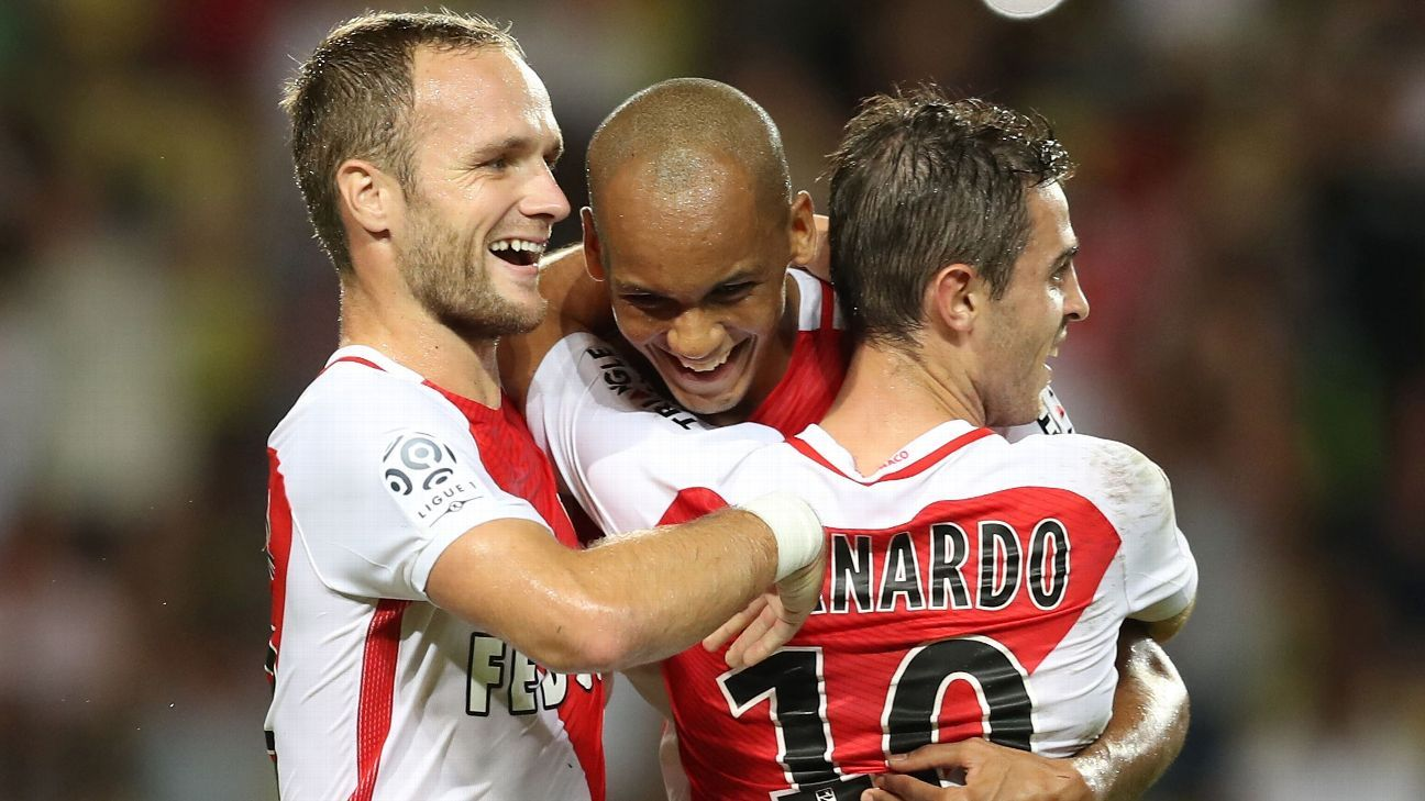 Monaco celebrated three goals in their shocking defeat of PSG on Sunday.