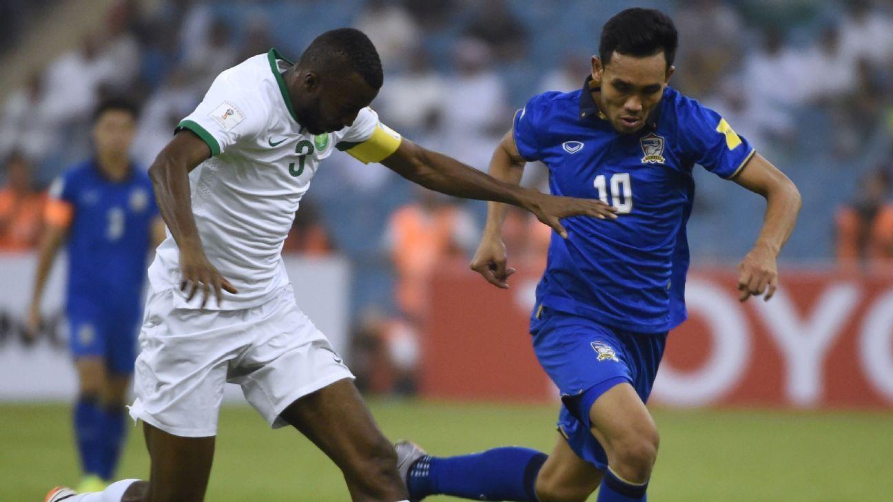 Thailand striker Teerasil vs Saudi Arabia