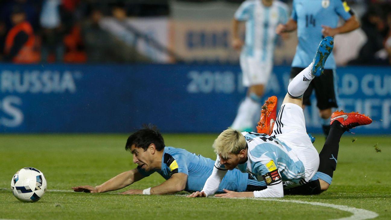 Argentina's Lionel Messi vs. Uruguay